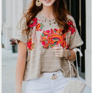 NWT Free People BLOGGER FAVE Embroidered Crop Top